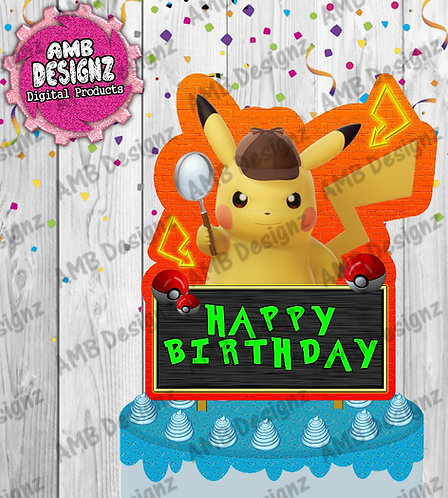 Pikachu Detective Cake Topper Centerpiece - Pikachu Detective Party Supplies