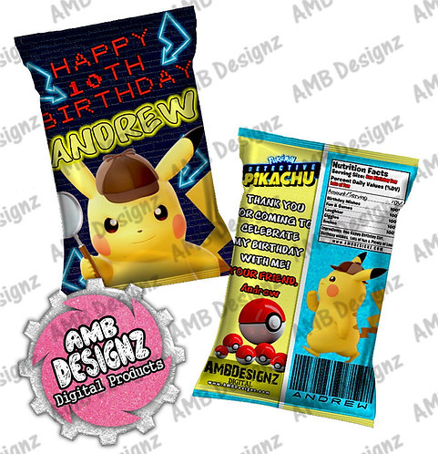 Pikachu Detective Chip Bag Party Favor - Pikachu Detective Party Supplies