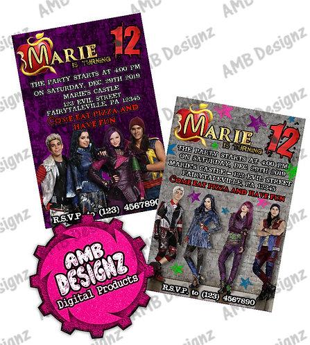 Disney Descendants Invitations - Disney Descendants Party Supplies