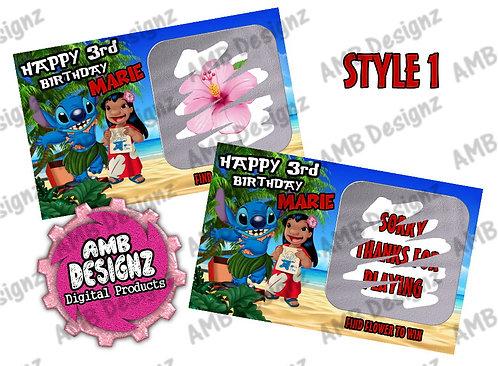 Lilo & Stitch Scratch Off Ticket Favor - Lilo & Stitch Party Supplies