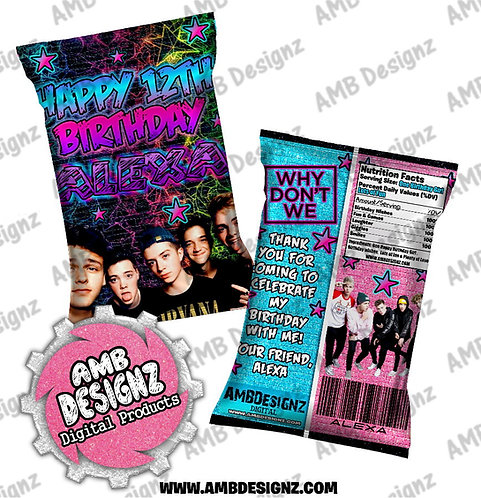 Why Don't We Chip Bag Party Favor - Why Don't We Party Supplies