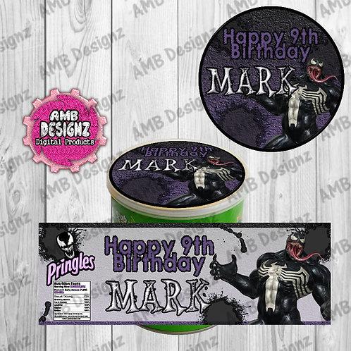 Venom Pringles Can Labels - Venom Party Supplies
