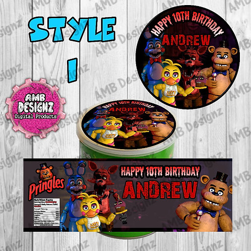 Five Nights at Freddy's (FNAF) Pringles Can Labels - FNAF Party Supplies