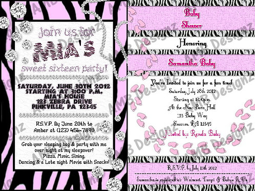 Zebra Print - Animal Print Custom Digital Invitation