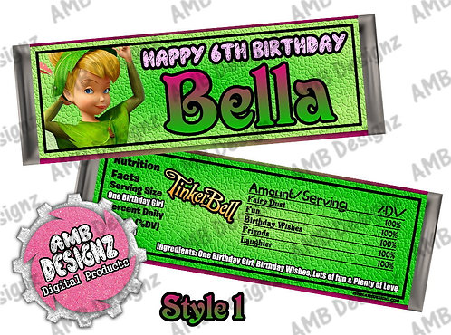 Tinkerbell Fairies Candy Bar Wrapper, Tinkerbell Fairies Party Supplies