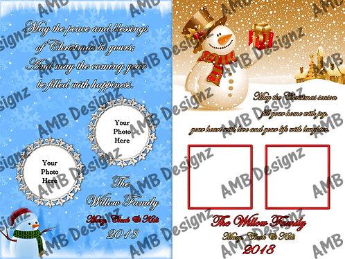Snowman Printable Custom Photo Christmas Card
