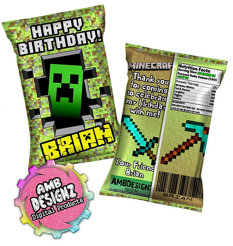 Minecraft Chip Bag Party Favor Party Supplies