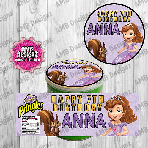 Sofia the First Pringles Can Labels - Soia the First Party Supplies