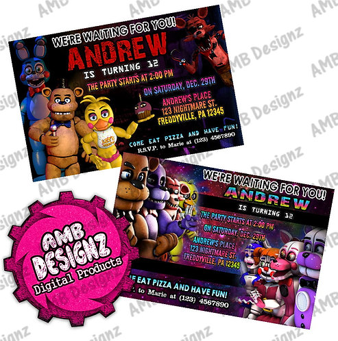 Five Nights at Freddy's (FNAF) Invitations - FNAF Party Supplies
