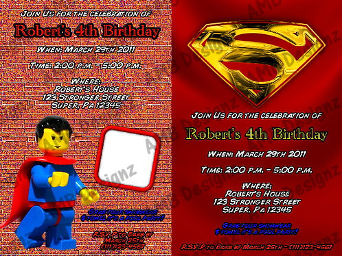 Superman Custom Digital Invitation