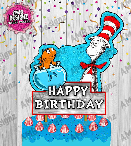 Dr. Seuss The Cat in the Hat Cake Topper Centerpiece