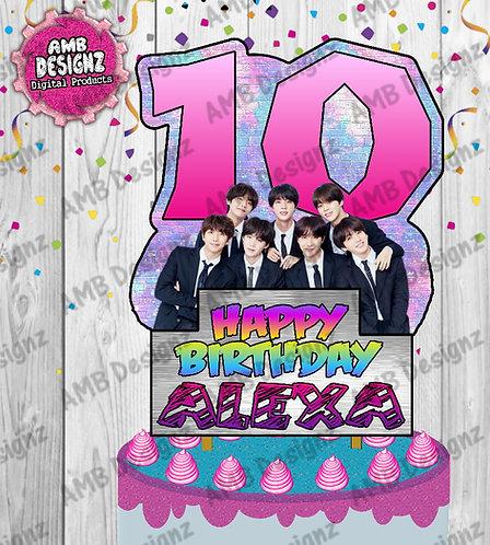 BTS Cake Topper Centerpiece - BTS Party Supplies