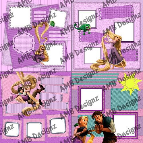 Disney Princess Tangled Rapunzel's Digital Scrapbooking Premade Album/Pages