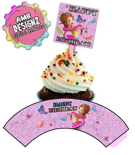 Fancy Nancy Cupcake Topper and Cupcake Wrap