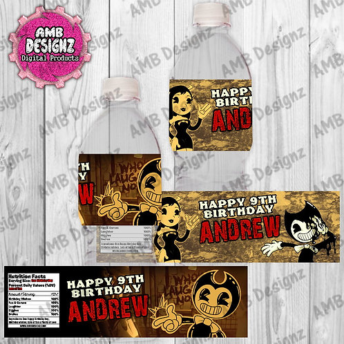Bendy and the ink Machine Water Bottle Wrap - Bendy ink Machine Party Supplies