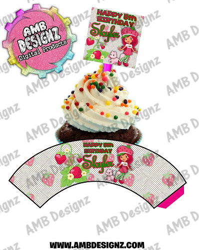 Strawberry Shortcake Cupcake Topper and Cupcake wrapper Party Supplies