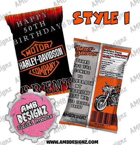 Harley Davidson Chip Bag Favor - Harley Davidson Party Supplies