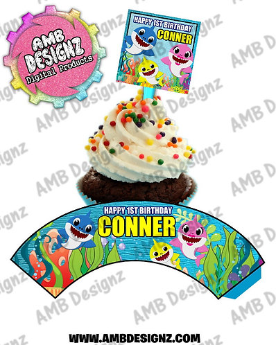 Baby Shark Personalized Cupcake Topper and Cupcake wrapper set