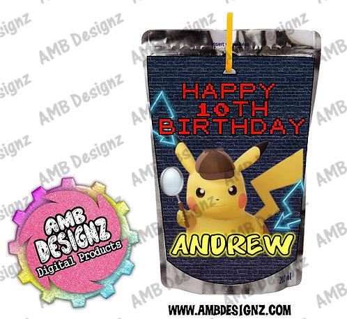 Pikachu Detective Juice Pouch Label - Pikachu Party Supplies
