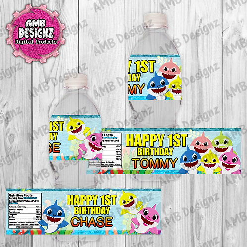 Baby Shark Water Bottle Wrap Party Supplies