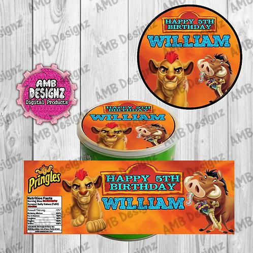 Lion Guard - Lion King Pringles Can Labels - Lion Guard Party Supplies