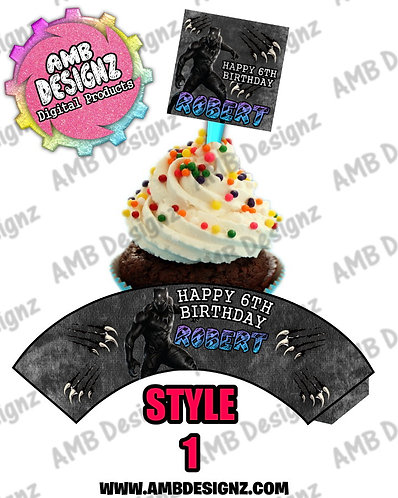Black Panther Cupcake Topper and Cupcake wrapper - Black Panther Party Supplies