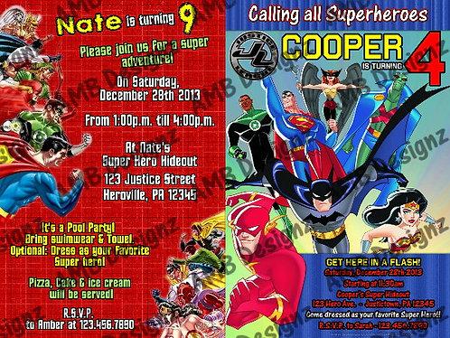 Justice League superhero Invitations