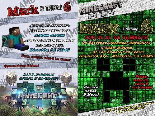 Minecraft Custom Digital Invitation