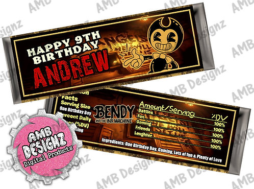 Bendy & the ink Machine Candy Bar Wrap, Bendy and the ink Machine Party Supplies