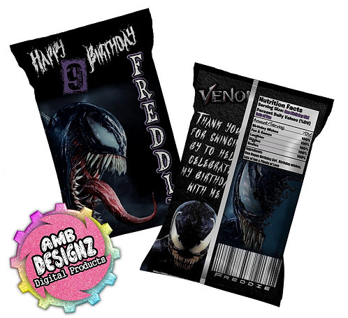 Venom Chip Bag Party Favors