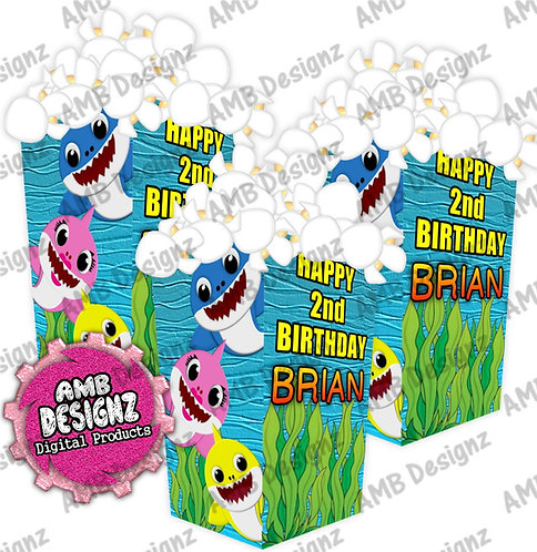 Baby Shark Popcorn Box Favor- Baby Shark Party Supplies