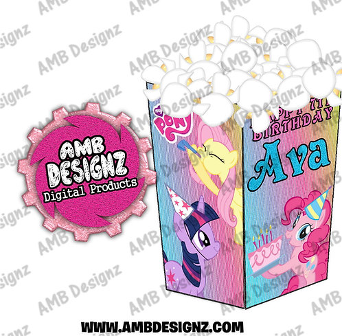 My Little Pony Popcorn Box Favor - My Little Pony Party Supplies