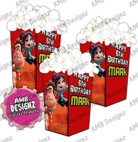Wreck it Ralph Popcorn Box Favor - Wreck it Ralph Party Supplies