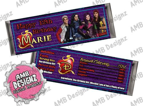 Disney Descendants Candy Bar Wrap, Disney Descendants Party Supplies