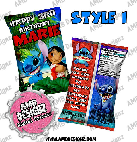 Lilo and Stitch Chip Bag Favor - Lilo and Stitch Party Supplies