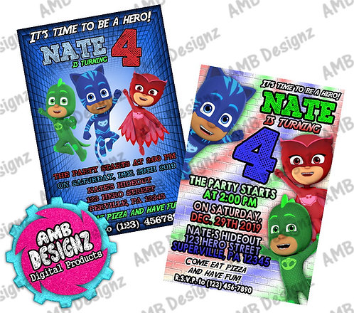 PJ Mask Invitations - PJ Mask Party Supplies