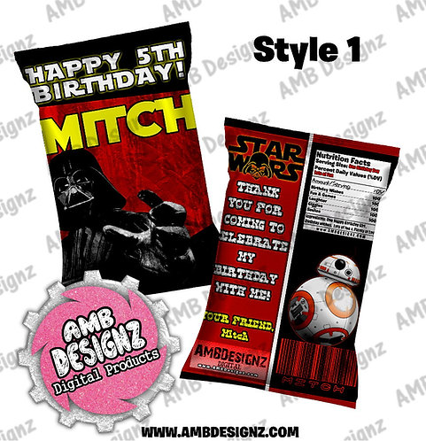 Star Wars Chip Bag Favor - Star Wars Party Supplies