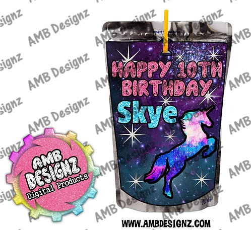 Galaxy Unicorn Capri-Sun Juice Pouch Label - Galaxy Unicorn Party Supplies