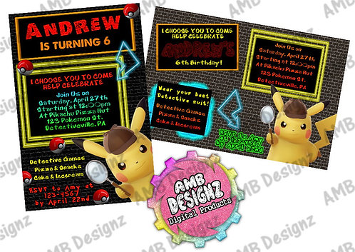 Pikachu Detective Invitations - Pikachu Detective Party Supplies