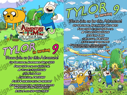 Adventure Time Custom Digital Invitation