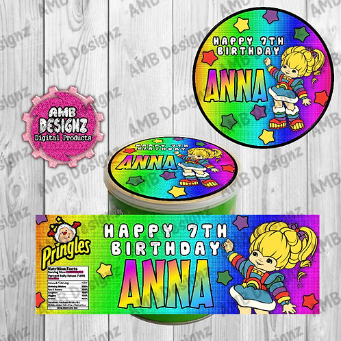 Rainbow Brite Pringles Can Labels - Rainbow Brite Party Supplies
