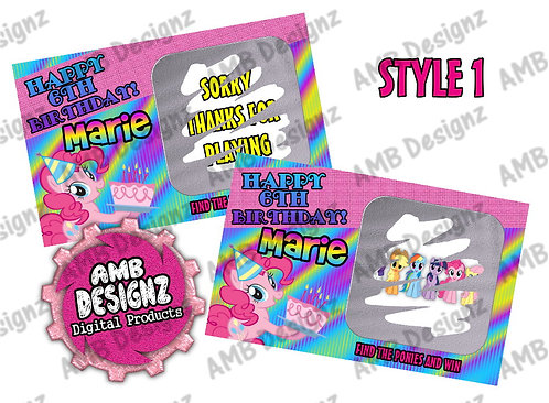 My Little Pony Scratch Off Ticket Favor - My Little Pony Party Supplies