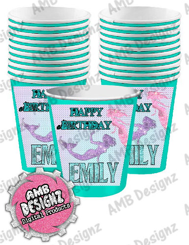 Mermaid Party Cups Party Supplies