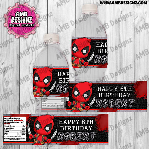 Deadpool Water Bottle Wrap - Deadpool Party Supplies