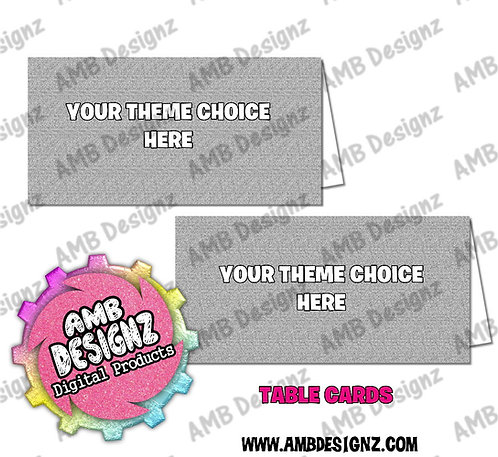 Custom Personalized themed Table Cards