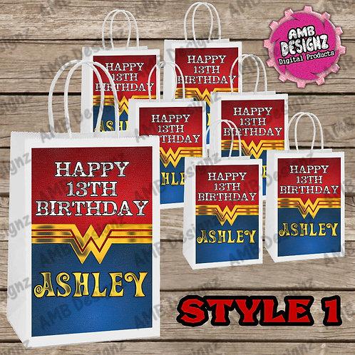 Wonder Women Favor Bag Label Party Supplies - Wonder Women Party Supplies