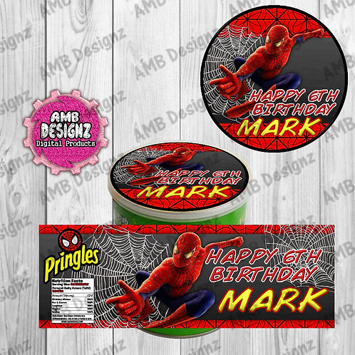 Spiderman Pringles Can Labels - Spiderman Party Supplies