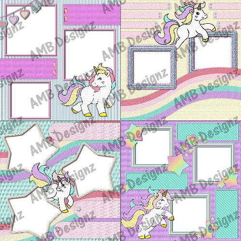 Rainbow Unicorn Digital Scrapbooking Premade Album/Pages