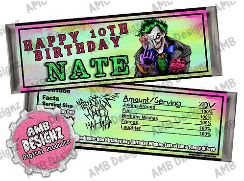 Joker Candy bar wrapper, Joker Party Supplies