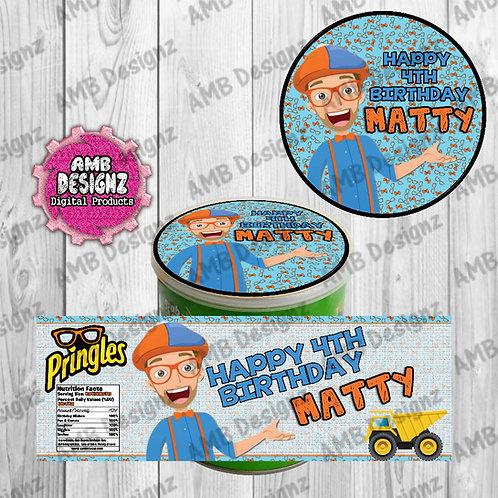 Blippi Machine Pringles Can Labels - Blippi Party Supplies